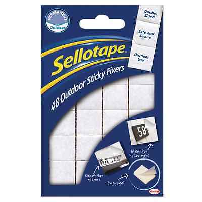 Sellotape Sticky Fixers Permanent Outdoor Pads - Pack of 48