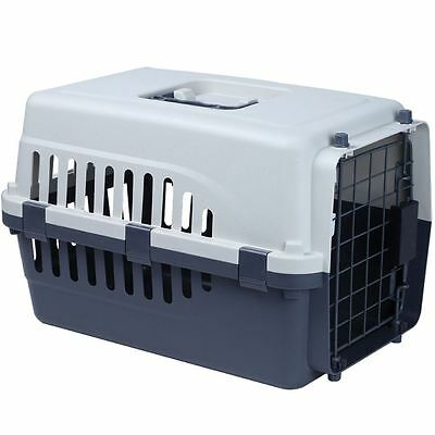 PET CARRIER Large White & Grey Dog Cat Puppy Cage Vet Travel Transport Box Crate