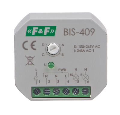 F&F BIS-409 Bistabiles Relais 230V AC 2x 8A 4x Funktionen Sequentiell IP20 LED