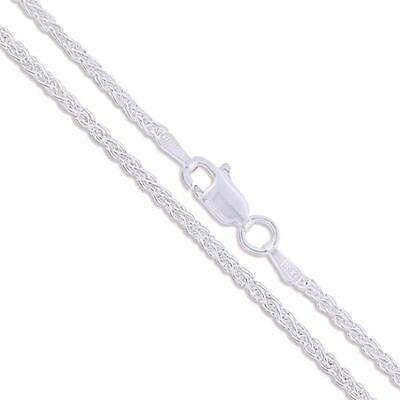 Sterling Silver Round Wheat Chain Solid 925 Unique Spiga Necklace
