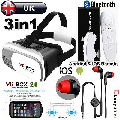 3in1 Virtual Reality VR Box 3D Glasses Bluetooth Control for iPhone 6S 6 7 Plus