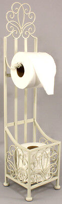 Shabby & Chic FREE STANDING METAL TOILET ROLL HOLDER WITH STORAGE Vintage Cream