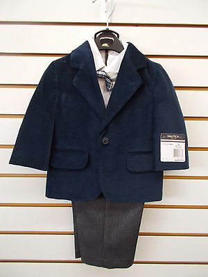 Infant/Toddler/Boys Nautica $84-$86 Navy & Gray Velour Suits Size 12mo-7