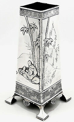 Tiffany AESTHETIC Sterling Vase Edward Moore JAPANESE Motifs