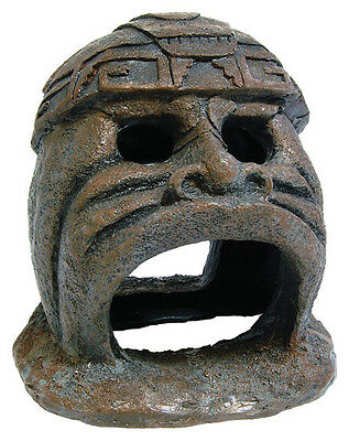 Mayan Hideaway Statue Aquarium Head Fish Cave Ornament Fish Tank Decoration