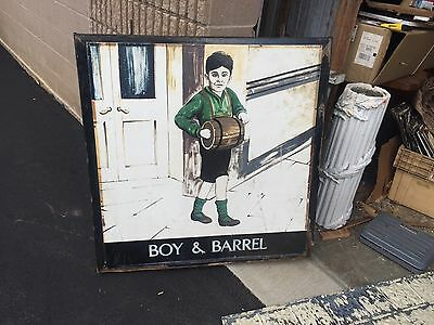 c1950-60 ENGLISH pub sign BOY & BARREL double sided metal frame & plate on wood
