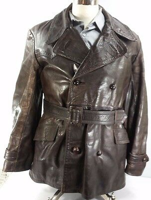 Vintage Men's Heavy Leather Bomber Coat Brown Wool Lined USA EUC! Size M*