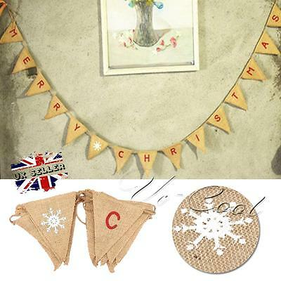 MERRY CHRISTMAS Burlap Hessian Bunting Banner Flags Vintage Xmas Party Decor UK