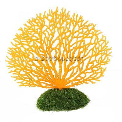 Ornement Aquarium Corail Artificiel en Silicone Décoration Poisson Orange