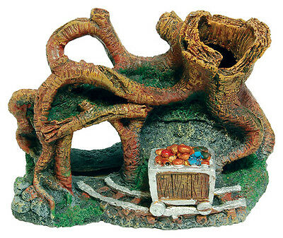 Tangled Tree with Chest Aquarium Fish Tank Ornament Decoration NEW -  FISH TANK
