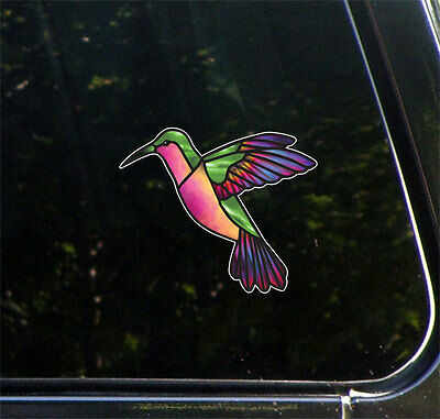 "CLR:CAR - Hummingbird - Stained Glass Style Vinyl Decal ©YYDC (LARGE 6""W x 5""H)"