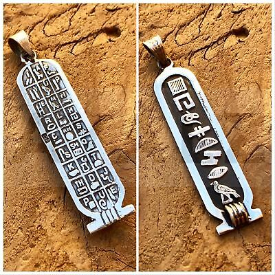 PUT YOUR NAME in hieroglyphic,Silver Personalized Cartouche Pendant With Glyphs