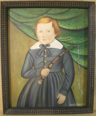Little boy canvas Folk art painting-wood frame-Jenny Salsini