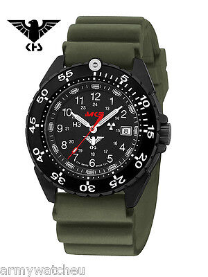KHS Tactical Watches Stainless Steel black Tritium Diver Band Oliv German Police