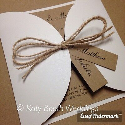 SAMPLE Luxury Ivory Vintage Wedding Invitation with Rustic Twine & Tags