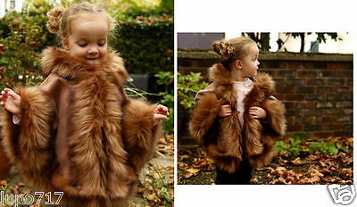 Camel Kids Girls Long Faux Fur Hooded Winter Cape Coat Poncho Sz M 5-7 Years New
