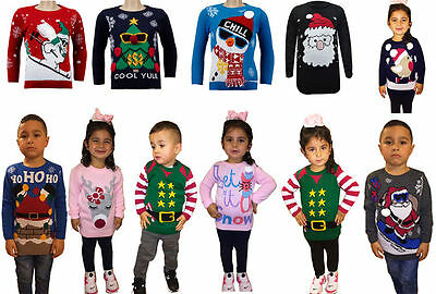 New Kids Childrens Girls Boys Xmas Christmas Winter Jumper Sweater Knitted Retro