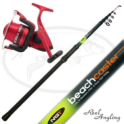12ft Telescopic Beachcaster Sea Fishing Rod & Reel Combo NGT OceanMaster 70