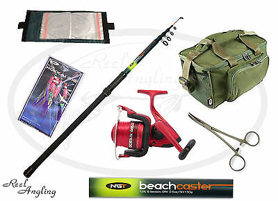12ft Telescopic Beachcaster Fishing Kit OceanMaster 70 Sea Reel Rig Wallet NGT
