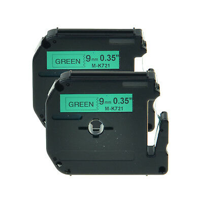 2PK M-K721 MK721 M721 Black on Green Lable Tape For Brother P-touch 70BM 70HK 65