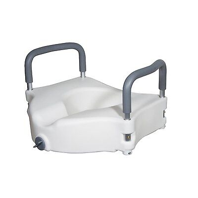 Drive Medical Elevated Raised Toilet Seat With Removable Padded Arms Standard