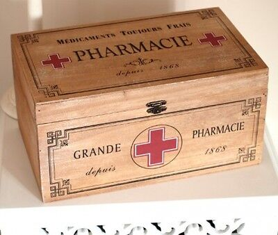 Rustic Vintage Shabby Chic Style Wooden First Aid Box / Pharmacy Box - Perfect