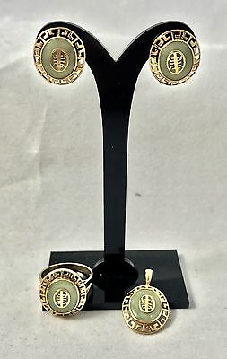 Pastel Green Jadeite 10K Yellow Gold Jewelry Set- Earrings, Pendant, Ring size 7