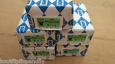 "5 boxes of 200  NETTLEFOLDS 1/2"" x 5 BZP STEEL COUNTERSUNK SLOTTED  WOOD SCREWS"