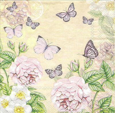 4 Single Paper Napkins for Decoupage Pink Roses Butterflies