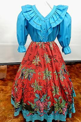 2 Piece Teal And Island Print Square Dance Prairie Outfit