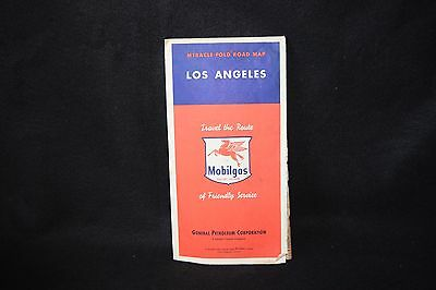 Vintage Mobil Gasoline Flying Red Horse Map Los Angeles late 1940s'