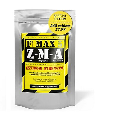 240 x ZMA TABLETS - TESTOSTERONE TEST BOOSTER + STRENGTH - ZINC + MUSCLE GROWTH