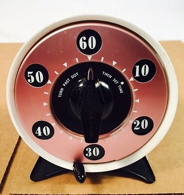 Vintage MARK TIME DUAL KITCHEN TIMER 6 MINUTES or 1 HOUR  Rare