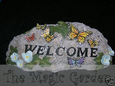 Butterfly welcome rock sign garden ornament cement plaster latex moulds molds