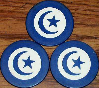 Lot 3 Old STAR & CRESENT Inlaid Clay Casino Poker Chips Vintage Antique Blue VG