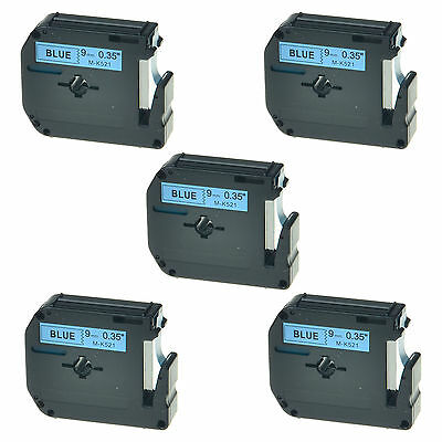 5PK MK521 M521 M-K521 Black on Blue Lable Tape 9mm For Brother P-touch 70BMH 110