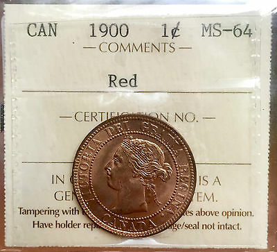 1900 Red Canada Large One Cent Penny A0009 $1350- ICCS MS 64 - Bright Red Coin!