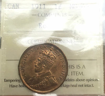 1911 Red Canada Large One Cent Penny A0013 - ICCS MS 65 / Bright Coin!
