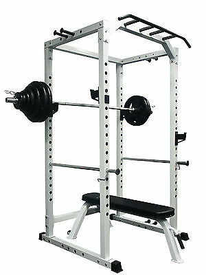 CYBERFIT LC2 Power Rack + 140KG Olympic Weight Set + Flat bench