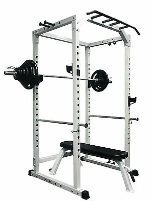 CYBERFIT LC2 Power Rack + 100KG Olympic Weight Set + Flat bench