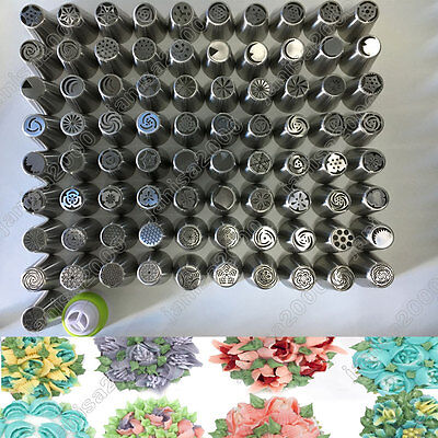 94PCS Russian Flower Icing Piping Nozzles Socket Tool Cake Pastry Cream Decor