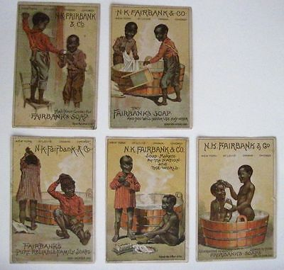 "Fantastic Set of (5) Victorian Trade Cards ""Fairbanks Soap"" w/ Black Americana *"