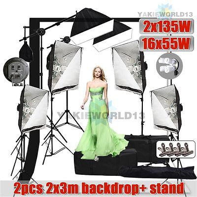 5750W Photo Studio Softbox Lighting Soft Box Boom Light 2x3m Backdrop Stand Kit