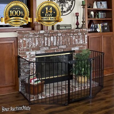Fireplace Gate Protection Safety Fence Hearth Baby Toddler Pets BBQ Fire Metal