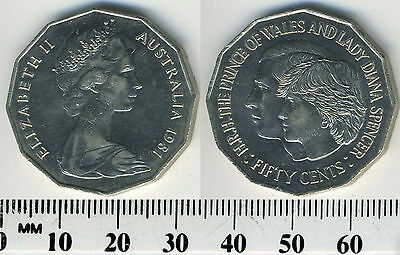Australia 50 Cents Coin, 1981, Wedding of Prince Charles and Lady Diana
