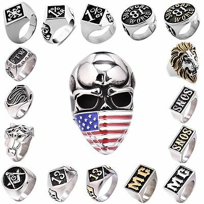 Men's 316L Stainless Steel Heavy Biker Motorcycle Rings Cool Signet Jewlery Lot