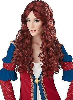 Womens Auburn Renaissance Costume Wig Historical Medieval Party Outfit Hair