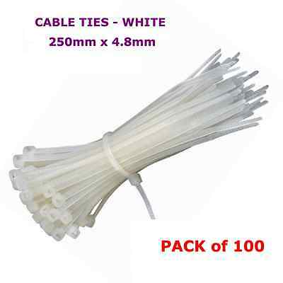 100 x White Nylon Cable Tie Ties 4.8mm x 250mm Strong Electrical Zip Wrap New