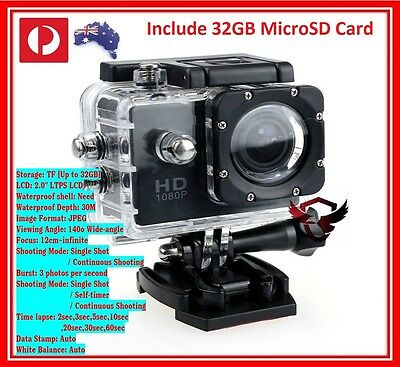 32GB Sports Action Video Helmet Camera 1080P TRUE HD Waterproof