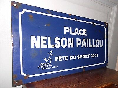 FRENCH  BLUE Enamelware STREET SIGN : PLACE NELSON PAILLOU